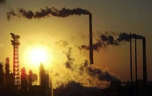 Industrial pollution typical of toxic waste fluoride emitting industries